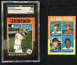 1975 Topps #41 Cesar Geronimo (SGC 80) & #621 Rawly Eastwick RC Big Red Machine!