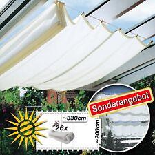 1B Sonnensegel weiss ca 320x200cm f Seilspannmarkise, 26 Laufhaken Sonderangebot