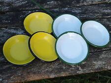 MINI ASSIETTES EMAILLEES LOT DE 5 Blanc et jaune DINETTE EMAIL VERITABLE NEUVES