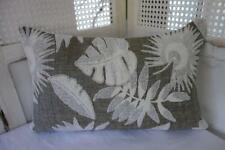 Hamptons Brown-Teal & White Leaves Cotton Blend Rectangular Cushion Cover