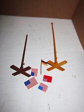 2 Playmobil Vintage Western Fort Flag Poles & 5 Flags