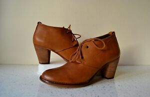 STEVE MADDEN AT DUNE TAN LEATHER/LEATHER LINED LACE UP ANKLE BOOTS UK 5 US 7.5