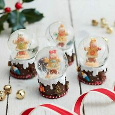 Set of 4 Mini Gingerbread Christmas Snow Globes Gisela Graham