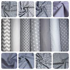 100% Cotton fabric Grey White Stars Polka chevron Stripe Pattern Sheeting