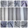 100%Cotton fabric Grey White Stars Polka chevron Stripe Pattern Sheeting