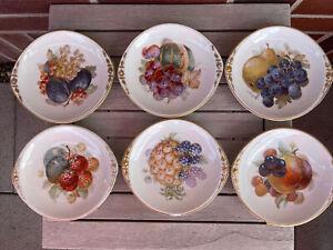 Schlesien, 6 alte Obstteller, Porzellan, Herman Ohme, Silesia,Teller, Jugendstil