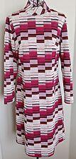 Vintage 1960s Knit Dress Mod Geometric Stripe Pink Straight Fitted Size Medium
