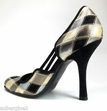VALENTINO GARAVANI METALLIC Gold/Silver/Btonze LEATHER & BLACK SUEDE SHOES, 38/8