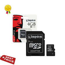 Original Clase (4) 4GB Tarjeta de memoria Kingston Micro Sdhc Con Adaptador Sd Hc Microsd