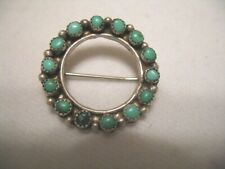 New ListingVintage Old Pawn Navajo Sterling & Turquoise Circle Pin