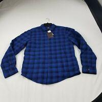 Thomas Dean Mens large blue plaid  Button Shirt LS cotton bd2