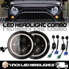 "2x 7"" Inch CREE LED Headlight Angel Eye Amber Halo DRL Jeep Wrangler JK TJ LJ"