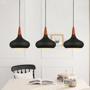 3X Wood Pendant Lights Black Ceiling Lamp Modern Light Home Chandelier Lighting