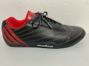Adidas Goodyear Tuscany Black Red Leather Racing Driving Shoes Men's Size 10.5
