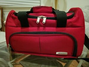 Delsey Medium Red/Black Canvas Duffel/Carry On Bag/Lugge