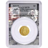 2019-W UNC $5 Gold Apollo 11 50th Ann PCGS MS70 FS Apollo Frame