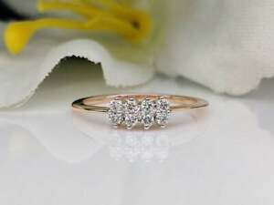Natural Diamond Engagement Ring 0.12 Ct Estate 14K Gold Authentic GGL Jewelry