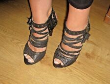RED TAPE *TK MAXX*BLACK HEELS * LEATHER * UK 5 * EXCELLENT GLADIATOR STYLE