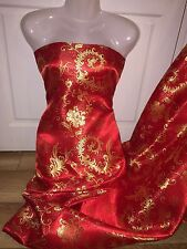 "1 MTR RED/GOLD FLOWERY CHINESE  BROCADE FABRIC...45"" WIDE £4.99 SPECIAL OFFER"
