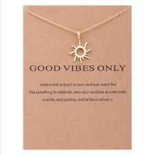 Womens Fashion Jewelry Good Vibes Only Unicorn Sun Pendant Gold Chain Necklace