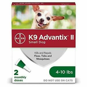 K9 Advantix II Flea, Tick & Mosquito Prevention for Small Dogs 4-10 lbs, 2 Doses
