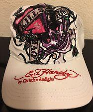 Ed Hardy Women's Trucker Hat Cap Love Kills White Pink Skull New