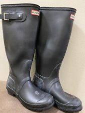 Hunter Womens Block Heel Knee High Rain Boots Black Rubber Size 6