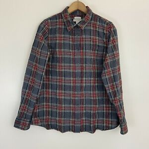 Womens Ll Bean Slightly Fitted Cotton Flannel Button Down Shirt Plaid Gray M
