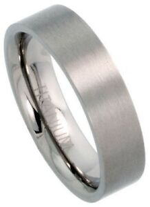 Titanium 6mm Comfort Fit Plain Anniversary Brush Flat Wedding Band Ring Sz 5-12