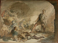 J. B. WITTKAMP `AQUARELL ÜBER TUSCHFEDER, 80-JÄHRIGER KRIEG` LUGT 2799a, ~1850
