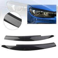 For VW Scirocco 2009 - 17 Head Light Lamp Eyebrow Eyelid Cover Trim Carbon Fiber