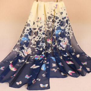 Blue & Cream Butterfly Silky women Face Cover Wrap Silky Chiffon Scarf