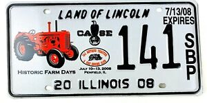 Tractor Picture License Plate Art 2008 Special Event Illinois Farm Days Gift Men