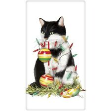 MARY LAKE-THOMPSON Bagged Cotton Flour Sack Kitchen Towel ~ Cat Ornaments