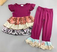 NEW Boutique Girls Purple  Ruffle Tunic Dress & Leggings Outfit 5-6 6-7 7-8