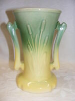 Vintage Art Pottery Handled Urn Vase Planter Green Yellow Cattails Cameron Clay