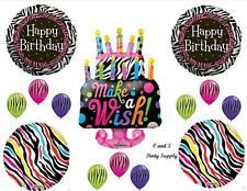 ZEBRA MAKE WISH CAKE HAPPY BIRTHDAY PARTY BALLOONS Decorations Supplies Sweet 16