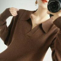 wool and cashmere collared jumper warm winter v-neck long sleeve loose cardigan