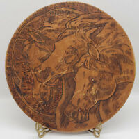 "Vintage Flemish Art Wood Wooden Burning Round Plaque HORSE Pyrography 11"""