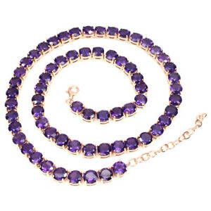 Necklace Purple Amethyst Genuine Gems Sterling Silver Rose Gold Plated 19 to 21