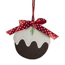Gisela Graham Christmas Decoration - Wooden Christmas Pudding - Tree Decoration