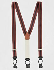 Brooks Brothers Striped Suspenders Navy Blue Red MSRP $118 Leather Tab UK USA