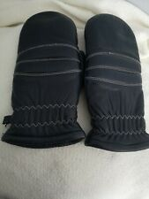 Vintage Snowmobiling Slopes Conroy Navy Blue Ladies Leather Mittens Gloves Med