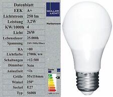Sonderposten 3,2W LED Birne (26W Licht Glühbirne) E27 250lm 2700K warmweiß A+