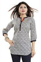 Women Indian Short Kurti Tunic Cotton Printed Kurta Shirt Dress MM193
