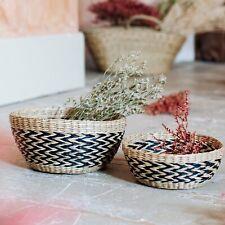 SET OF 2 Black Chevron Stripe Seagrass Decorative Bowl Baskets