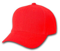 Plain Blank Baseball Hats Adjustable Hook and Loop Closure, Red
