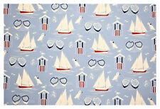 Nautical Light Blue Sail Boat Marine Print Cotton Drapery Upholstery Fabric 55