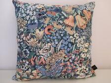 Liberty Cottage Garden Cotton & Blue Velvet Fabric Vintage Retro Cushion Cover