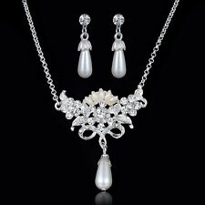 Pearl Rhinestone Crystal Butterfly Chain Necklace Earrings Set just for mum